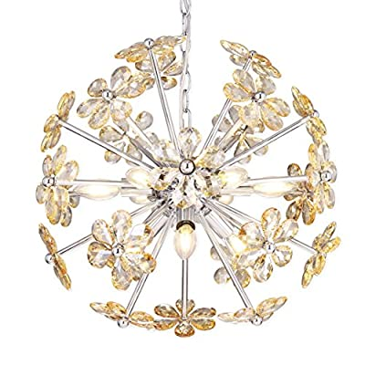 """Electro bp;SZBP1710 Art Noble Retro Vintage Metal Large Chandelier with Crystal Flower, 9 Lights, Chrome Finish - Input Voltage: 120V 50/60Hz Wattage: Max 60W per socket Display size: 19.7 """"-49.2"""" Bulb NOT Included Adjustable Hanging - kitchen-dining-room-decor, kitchen-dining-room, chandeliers-lighting - 51cYSbr N4L. SS400  -"""