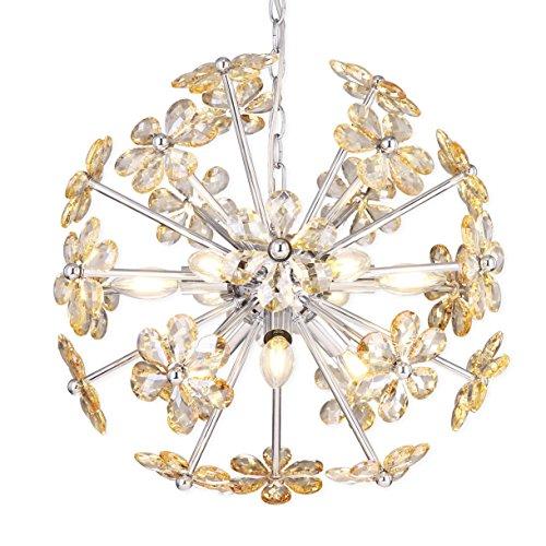 Electro bp SZBP1710 Art Noble Retro Vintage Metal Large Chandelier with Crystal Flower, 9 Lights, Chrome Finish