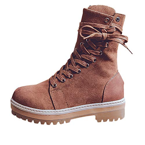 Creazrise Women's Retro Shoes Velvet Lace Up Ankle Bootie Combat Boots with Zipper (Brown,8)