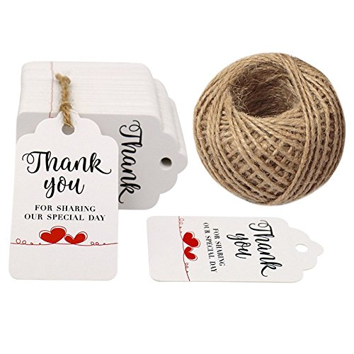Wedding Favor Tags,Thank You for Sharing Our Special Day Gift Tags,100 Pcs Kraft Gift Tag with 100 Feet Jute Twine (White)]()
