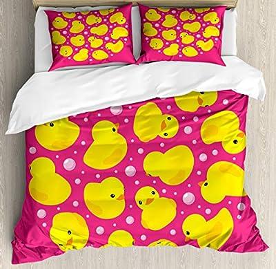 Duvet Cover SetBubbles Hot Pink Duvet Cover SetDecorative 3 Piece Bedding Set with 2 Pillow Shams