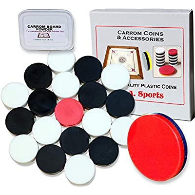 Carrom Carom Board Coins Striker and Powder Large Coins Set for Medium and Large Boards: Toys & Games