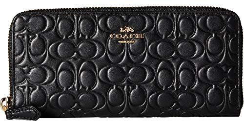 (COACH Women's Signature Leather Slim Accordion Zip Gd/Black One Size)