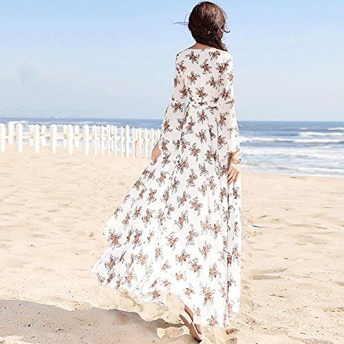 Chiffon Abito V WYYY Printing Gonna Bianco dimensioni Donne Stagione In Lunga Balze Lunga Estiva Da Vestiti Spiaggia collo Manica Gonna Xl SZw0qfOZr