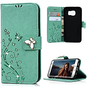 S7 Edge Case,Samsung Galaxy S7 Edge Case - Mavis's Diary 3D Handmade Wallet Bling Crystal Diamonds Butterfly Fashion Floral PU Leather with Wrist String Magnetic Clip Card Slots from Mavis's Diary