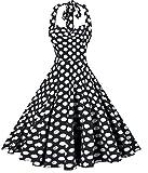 V fashion Women's Rockabilly 50s Vintage Polka Dots Halter Cocktail Swing Dress, Black M