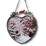 Banberry Designs Cardinals Suncatcher - Glass Heart Sun Catcher with Cardinals and Pine Trees - Hanging Heart Window
