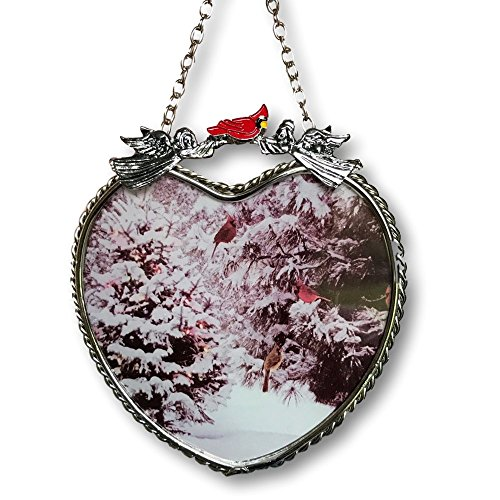 Winter Scene Suncatcher - Glass Heart Sun Catcher with Cardinals and Christmas Trees - Hanging Heart (Christmas Suncatcher)