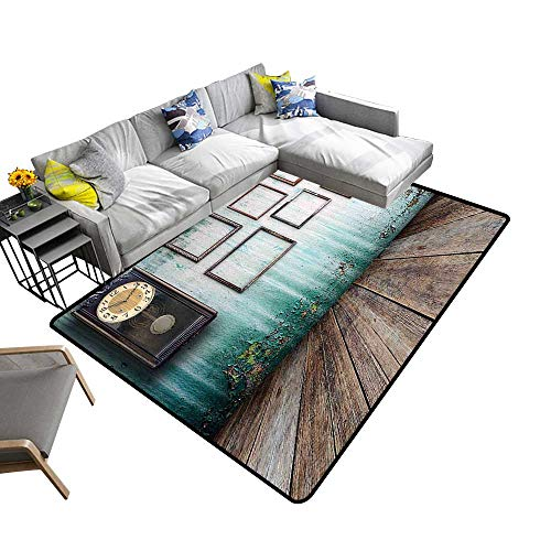 (Contemporary Indoor Area Rugs A Vintage Clock and Empty Picture Frames in an Old Room Wooden Backdrop Carpet for Children Home Decorate 5' X 8')