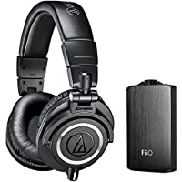 Audio Technica ATH-M50X Professional Studio Headphones (Black) with FiiO A3 Portable Headphone Amplifier - Silver
