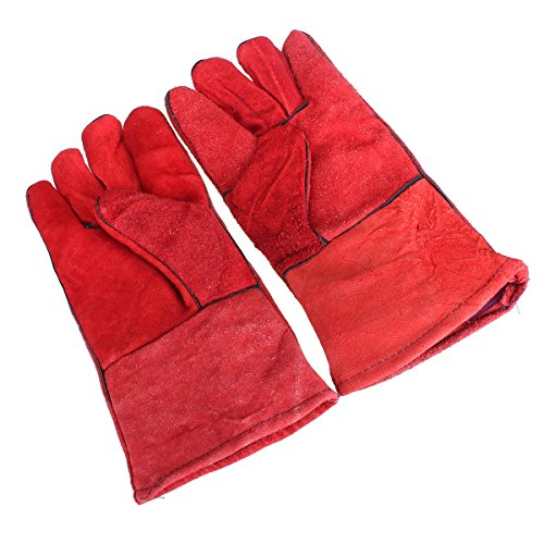Pink Lizard One Pair Heat Resistant Leather Welders Protection Gloves