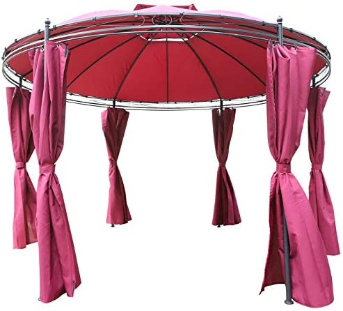 Outsunny 11.5 Steel Fabric Round Soft Top Outdoor Patio Dome Gazebo Shelter with Curtains -Wine Red