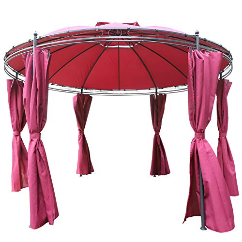 - Outsunny 11.5' Steel Fabric Round Soft Top Outdoor Patio Dome Gazebo Shelter with Curtains -Wine Red