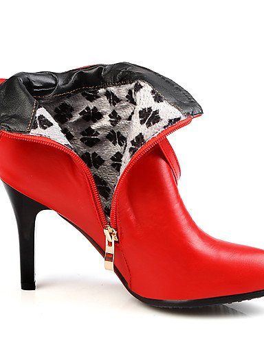 XZZ  Damen-Stiefel-Kleid   Lässig     Party & Festivität-Kunstleder-Stöckelabsatz-Stifelette   Spitzschuh   Modische Stiefel-Schwarz   Rot   B01KPZUXUQ Sport- & Outdoorschuhe Geeignet für Farbe 40b2bf