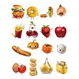 decalmile Kitchen Wall Decals Food Emoji Graphics Wall Stickers Removable Vinyl Wall Decoration for Kitchen Dining Room