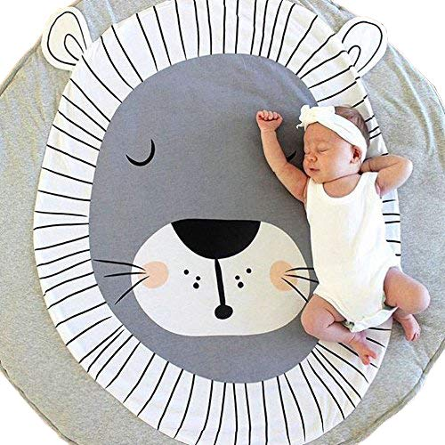 USTIDE Baby Rugs Creeping Crawling Mat Cartoon Sleeping Rugs, Baby Anti-Slip Game Mat 100% Cotton Floor Play Mat Blanket Play Environmental Carpet Kids Room Decor 37.4 x 37.4,Lion