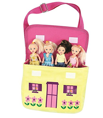 Child Purse Friends Set with 4 Poseable Dolls Soft Plush Purse Girl Gift