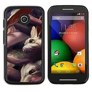 LECELL--Funda protectora / Cubierta / Piel For Motorola Moto E -- Conejos lindos --