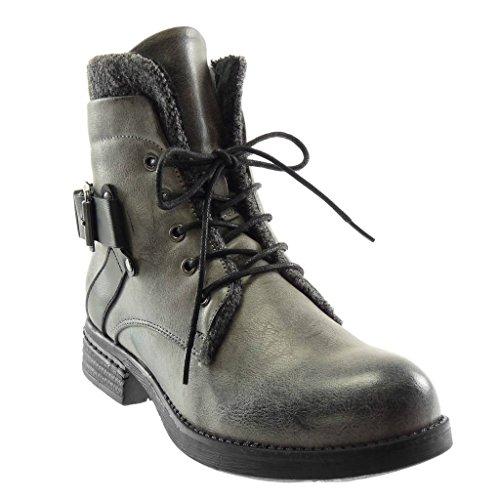 Blockabsatz Boots Grau 5 Stiefeletten Pelz Schleife Heel Vintage Combat cm Spitze Angkorly Stil Biker Damen Schuhe 3 high wIgTxnPq1