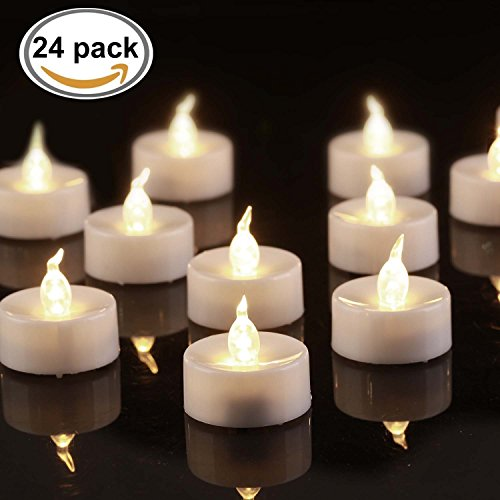 BEICHI 24 Pack Flameless LED Tea Lights, Battery Powered Fake TeaLights with Warm White Flickering Light, Small Electric Candles For Wedding, Christmas and (Tealight Candle Box)