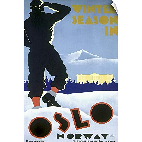 (CANVAS ON DEMAND Oslo, Norway, Winter Ski Season, Vintage Poster Wall Peel Art Print, 32