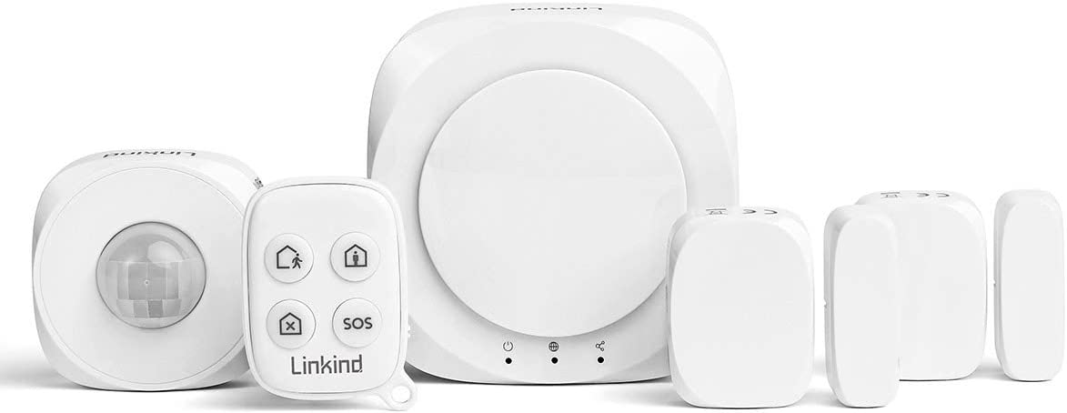 Linkind Wireless Smart Home Security System, DIY 5 Pieces with Siren Alarm, PIR Motion Sensor, Door/Window Sensor, Office Home Alarm System via APP/Keyfob Easy Control, Compatible with Alexa