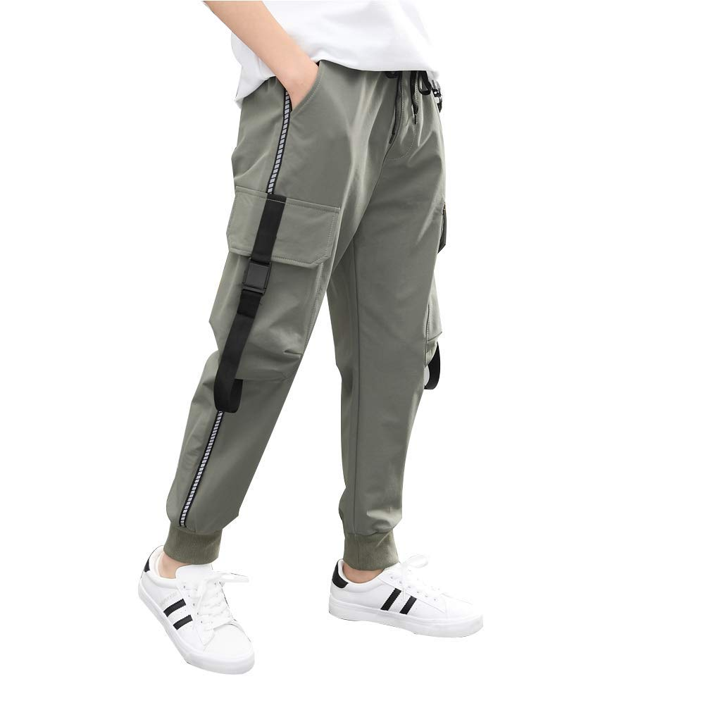 childdkivy Kids Big Boys Casual Cargo Pants Active Outwear Bottoms Gray 140 952 by childdkivy