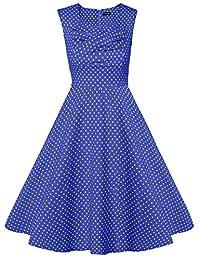 ACEVOG Retro Women's 1950s Vintage Capshoulder Rockabilly Party Swing Dresses