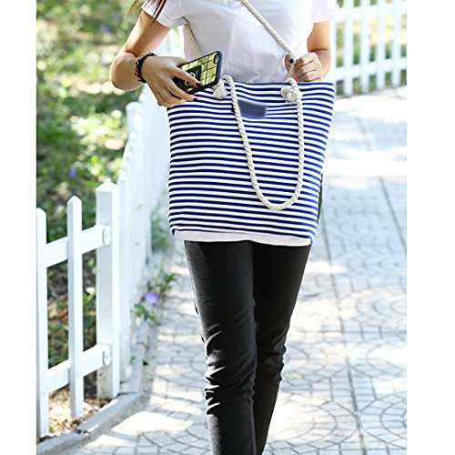 Shoulder Summer Zipper Tote Millya Stripe Bag Handbags Canvas Blue Ladies Women Beach wzqnxCS8n