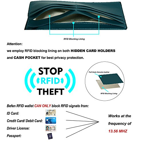 Grain Bifold Multi Ladies And Trifold Blocking Holders Teal Befen Large Rfid Women's Full Luxury Genuine Card Organizer Leather Wallet For Blue qPPXSnxUw
