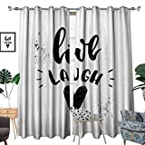 inspiring modern closet design homehot Live Laugh Love Thermal Insulating Blackout Curtain Hand Drawn Monochrome Inspiring Message and Heart with Stained Background Patterned Drape for Glass Door Black White