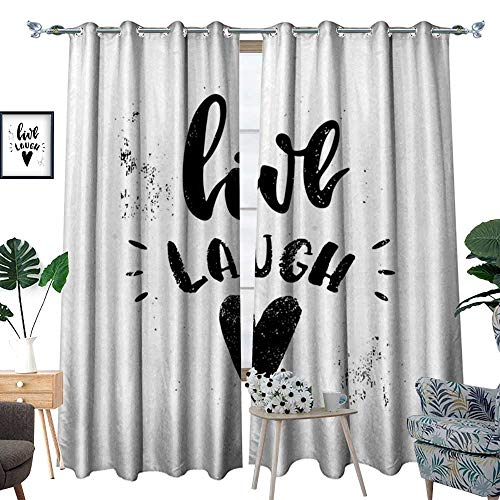 homehot Live Laugh Love Thermal Insulating Blackout Curtain Hand Drawn Monochrome Inspiring Message and Heart with Stained Background Patterned Drape for Glass Door Black White