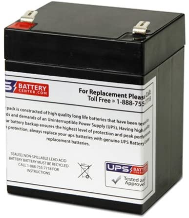 12V 5Ah F2 Sealed Lead Acid Replacement Battery for Tripp Lite Internet Office 525VA INTERNET525 by UPSBatteryCenter
