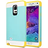 Rejected all traditions Slim Dual Layer Hybrid Impact Heavy Duty Protective Case for Samsung Galaxy Note 4 N9100 - Aqua Blue/Yellow