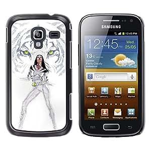 TaiTech / Prima Delgada SLIM Casa Carcasa Funda Case Bandera Cover Armor Shell PC / Aliminium - Tigre blanco Princesa - Samsung Galaxy Ace 2