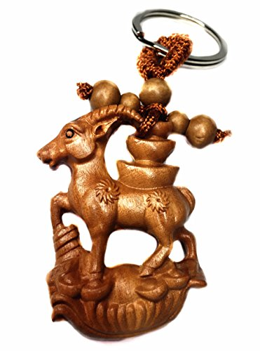 Feng Shui Handmade Auspicious RAM / Sheep / Goat Key Ring for Good Luck (With a Betterdecor Bag))