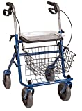 DMI Classic Steel Rollator Walker with Padded Seat, Removable Basket and Storage Tray