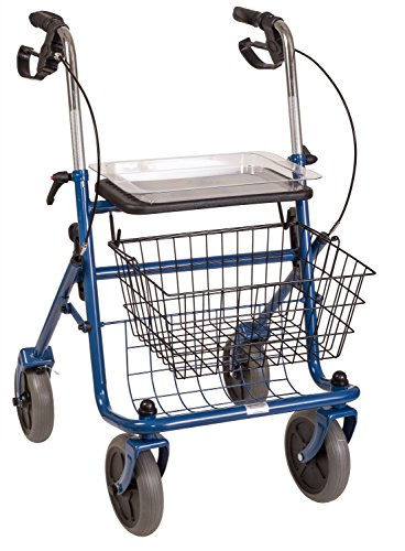 4 Wheel Padded Seat Basket (DMI Classic Steel Rollator Walker with Padded Seat, Removable Basket and Storage Tray, Folding,)