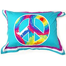 One Grace Place Terrific Tie Dye Standard Pillow Sham, Aqua (Discontinued by Manufacturer)
