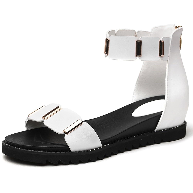 8b0e0fd30d4 Outlet Sandalias para Mujer Zapatos Cuñas de Punta Abierta Versión Coreana  Estudiante Cremallera Talón Medio Banda