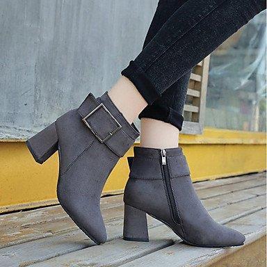 DESY Mujer Zapatos PU Otoño Botas de Combate Botas Tacón Robusto Dedo redondo Cremallera Para Vestido Negro Gris Borgoña gray