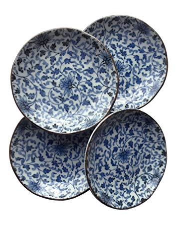 "Set of 4 - Blue Floral Mum Celadon Asian Chinese Japanese Small Round Porcelain Ceramic Dish Plate for Tapas Appetizers Sushi Condiment Sauce Dessert Snack Nuts Candy 4.75"" inch wide"