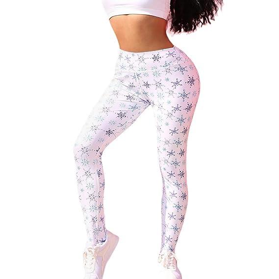 Cintura Media Yoga Pantalones, Mujer Nieve Impresión Leggins Polainas de Fitness de Yoga Running Gym Stretch Pantalones: Amazon.es: Ropa y accesorios