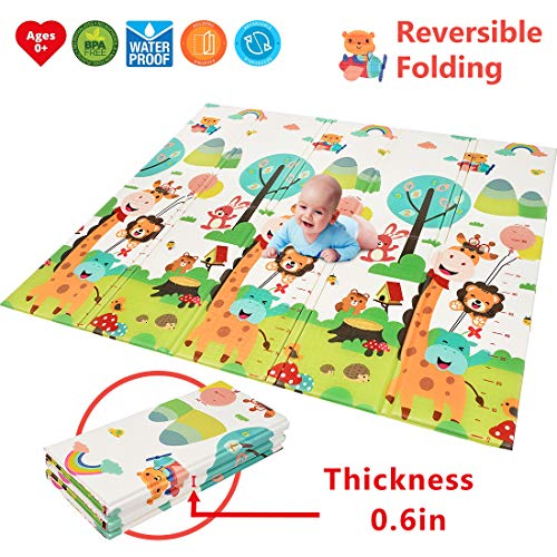 """Baby Play Mat  【Easy to Clean, Fold Up】BPA Free Non-Toxic Foam Folding Playmat 79"""" x 71"""