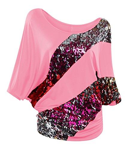 NiSeng Mujeres Blusa Irregular Sequins Manga Corta Shirt De Lentejuelas Bling Brillante Barco Cuello Suelto Casual Camisa De Las Señoras Rosa