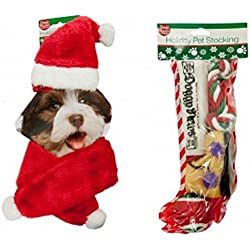 Dog Christmas Holiday Stocking Pet Toys Gift Set with Santa Hat & Red Scarf