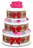 Classic Christmas Diaper Cake Decorated with Baby Socks and Bodysuits (3 Tier, Girl - Pink)