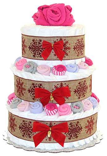 Classic Christmas Diaper Cake Decorated with Baby Socks and Bodysuits (3 Tier, Girl - Pink) (Girl 3 Tier Diaper Cake)