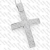 ArtLine Jewels 14K White Gold Plated Alloy Round Cut Diamond Hip-Hop Men's Cross Pendant W/ Chain