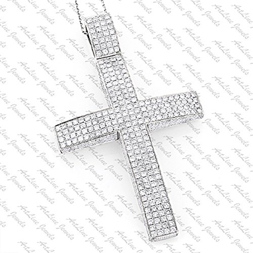 ArtLine Jewels 14K White Gold Plated Alloy Round Cut Diamond Hip-Hop Men's Cross Pendant W/ Chain by ArtLine Jewels